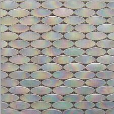 "<strong>Epoch Architectural Surfaces</strong> Alpinez Whistler 12"" x 12"" Oval Milk Glass Mosaic in White Iridescent"