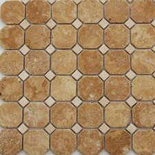 "Noce 12"" x 12"" Hexagon Honed Travertine Mosaic in Brown"