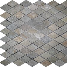 "12"" x 12"" Tumbled Slate Diamond Mosaic in Sunny Ray"