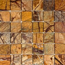 "12"" x 12"" Tumbled Marble Mosaic in Rain Forest Brown"