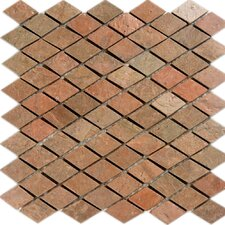 "12"" x 12"" Tumbled Slate Diamond Mosaic in Copper"