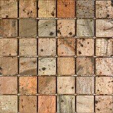 """2"""" x 2"""" Tumbled Slate Mosaic in Copper"""