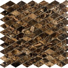"12"" x 12"" Polished Diamond Marble Mosaic in Emperador Dark"