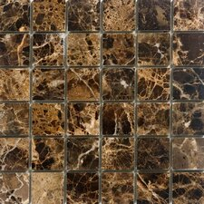 "<strong>Epoch Architectural Surfaces</strong> 12"" x 12"" Polished / Tumbled Marble Mosaic in Emperador Dark"