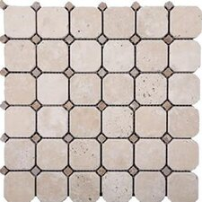 "12"" x 12"" Honed Travertine Hexagon Mosaic in Ivory"