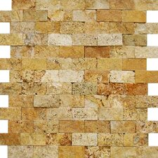 "12"" x 12"" Splitface Travertine Mosaic in Golden Sienna"