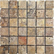 "Scabos 12"" x 12"" Tumbled Travertine Mosaic in Multi"