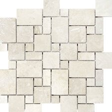 "Tumbled 12"" x 12"" Travertine Mini Versailles Mosaic in Beige"