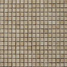 "12"" x 12"" Tumbled Travertine Mosaic in Beige"
