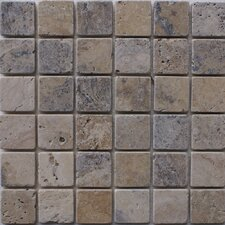 "<strong>Epoch Architectural Surfaces</strong> Philadelphia 12"" x 12"" Tumbled Travertine Mosaic in Multi"