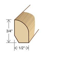 "0.5"" x 0.75"" Solid Hardwood Australian Jarrah Base Shoe in Unfinished"