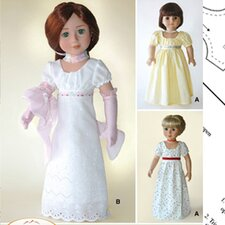 Clothes Pattern Doll Empire Dress and Gloves