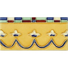"Mission 6"" x 3"" Hand-Painted Ceramic Decorative Tile in Coronita"