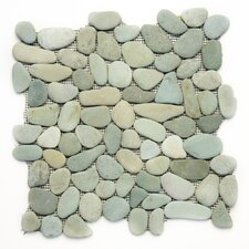 Decorative Pebbles Random Sized Interlocking Mesh Tile in Turquoise