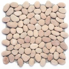"Decorative Pebbles 12"" x 12"" Interlocking Mesh Tile in Dawn"