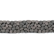 "Decorative Pebbles 39"" x 4"" Interlocking Border Tile in River Gray"