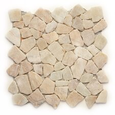 "Decorative Pebbles 12"" x 12"" Interlocking Mesh Tile in Alor Crystal"