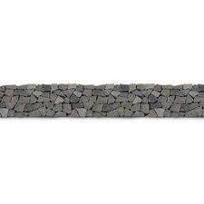 "Decorative Pebbles 39"" x 4"" Interlocking Border Tile in Java Black"
