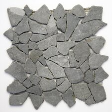 Decorative Pebbles Random Sized Interlocking Mesh Tile in Java Black