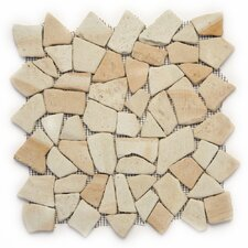 "Decorative Pebbles 12"" x 12"" Interlocking Mesh Tile in Bamboo"