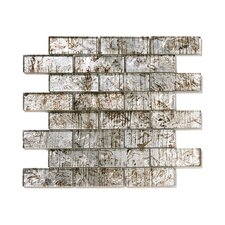 "Folia 12"" x 12"" Glass Interlocking Mesh Tile in Silver Maple"