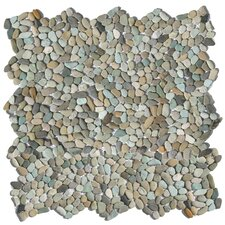 Decorative Pebbles Random Sized Interlocking Mesh Tile in Cayman Blue