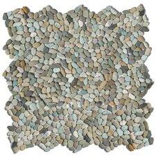 Decorative Random Sized Pebble Unpolished Mosaic in Cayman Blue