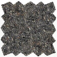 "Decorative Pebbles 12"" x 12"" Interlocking Mesh Tile in Barbados Black"