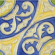 "<strong>Solistone</strong> Mission 6"" x 6"" Hand-Painted Ceramic Decorative Tile in Circulo"