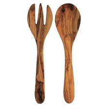 2 Piece Olive Wood Round Serving Set