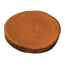 "15"" Mango Wood Plate with Bark"