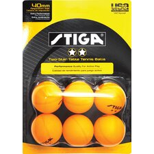 <strong>Stiga</strong> Two-Star Orange Table Tennis Ball (Pack of 6)