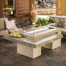 Uptown Crystal Fire Pit Table with Tile Top and Burner