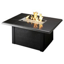 Napa Valley Crystal Fire Pit Table with Wicker Base