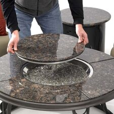 Fire Pit Table with Granite Top and Lazy Susan