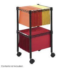 Two-Tier Compact Mobile Wire File Cart