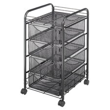 "27"" Mesh Mobile File Cart"