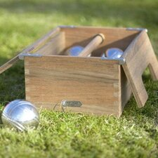 Akiko Teak and Steel Petanque Bocce Game Set
