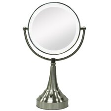 Round Vanity Mirror with LED Surround Light in Satin Nickel