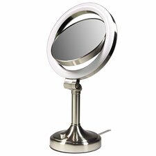 Dimmable Sunlight Makeup Mirror in Satin Nickel