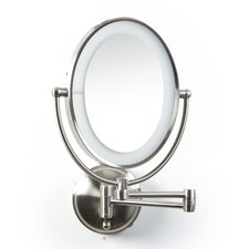 Oval Wall Mounted Mirror with LED Surround Light in Satin Nickel