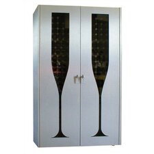 440 Brushed Aluminum Champagne Glass Design Wine Cooler Cabinet