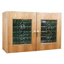 2 Door Oak Wine Cooler Credenza with Decorative Glass Doors