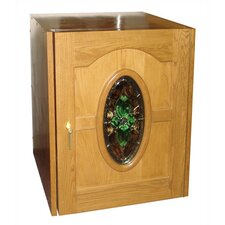 Napoleon Single Door Oak Wine Cooler with Beveled Oval Glass Window