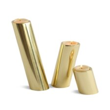 3 Piece Slanted Brass Candle Holders