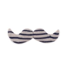 Giant Mustache- White/Navy