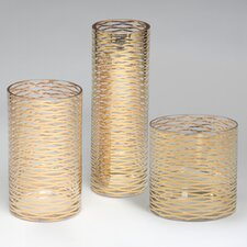 Gold Ribbons Glass Vase