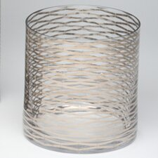 SILVER RIBBONS GLASS VASE-SHORT