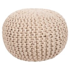 Braided Wool Natural Pouf