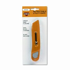 Plastic Utility Knife with Retractable Blade and Snap Closure, Yellow
